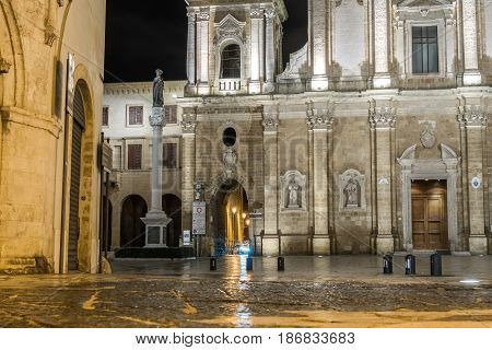 Cathedral In Brindisi By Night, Italy