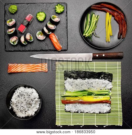 Overhead Shot Of Ingredients For Sushi On Stone Table.salmon