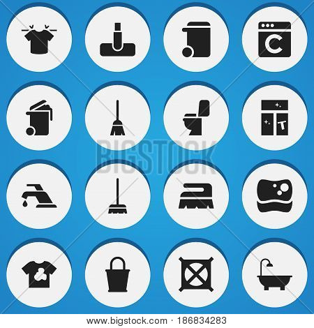 Set Of 16 Editable Cleaning Icons. Includes Symbols Such As Broomstick, Clean T-Shirt, Washing Glass And More. Can Be Used For Web, Mobile, UI And Infographic Design.