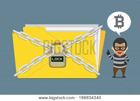 Hacker lock a data file and demand Bitcoin payment for unlock code. Illustration about ransom in online.