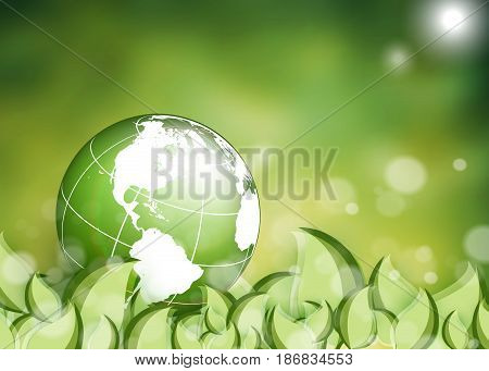 environmental vector background with globe and leaves. Illustration over blury shiny backdrop. Eps10