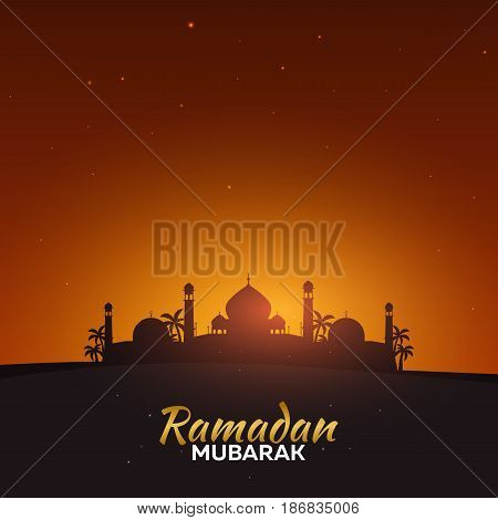 Ramadan Kareem. Ramadan Mubarak. Greeting Card. Arabian Night.