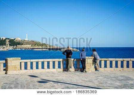 Tourists enjoying landscape in Leuca Puglia Italy