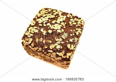 Fresh black bread on a white background