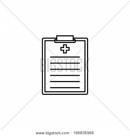 Medical clipboard line icon, medical form and disease history, vector graphics, a linear pattern on a white background, eps 10.