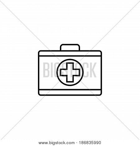 First aid box line icon, medical case and bag, vector graphics, a linear pattern on a white background, eps 10.