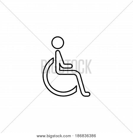 Handicapped and invalid line icon,  Human on wheelchair and disabled sign, vector graphics, a linear pattern on a white background, eps 10.