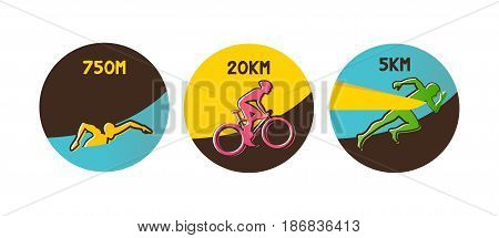 Vector illustration triathlon, flat design. vector illustration
