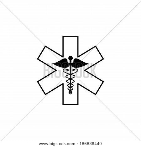 Caduceus line icon, Medicine and health sign, vector graphics, linear pattern on a white background, eps 10.