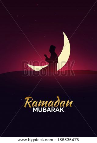 Ramadan Kareem. Ramadan Mubarak. Greeting Card. Arabian Night With Crescent Moon.