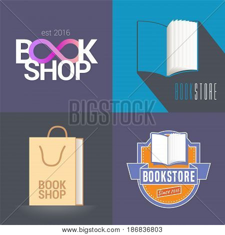 Bookstore, bookshop vector emblem, logo. Modern and retro style design elements with open book for book store