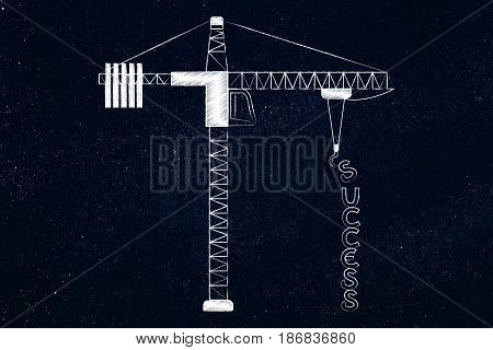 Success text being build by a tower crane conceptual illustration