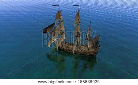 Pirate sail ship on shallow water, 3d rendering