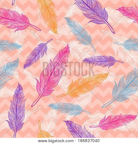 Vintage vector seamless colorful feathers pattern on pink background