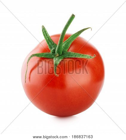 Ripe tomato with green handle isolated on white background