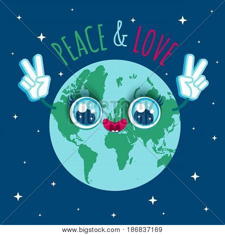 Vector illustration of a planet Earth in kawaii style. Cartoon planet Earth with text Peace and Love.