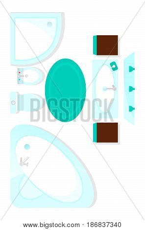 Top view bathroom interior element isolated on white background vector illustration. Apartment furniture design with bathtub, sink, toilet in flat design