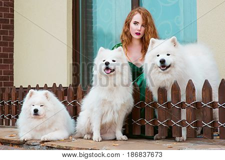 red hair (ginger) beautiful young girl in long green dress with three samoyeds outdoor