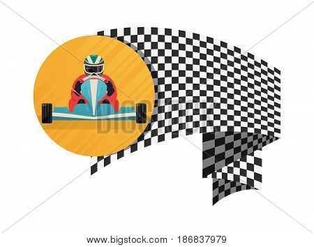 Kart championship symbol isolated on white background vector illustration. Extreme karting sport, road trophy race competition, driver racing on go kart.