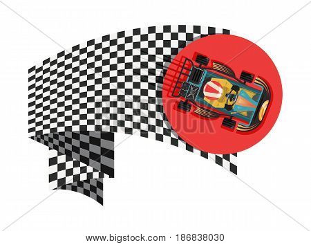 Karting sport symbol with checkered flag isolated vector illustration. Extreme karting competition, road trophy race championship, driver racing on go kart.