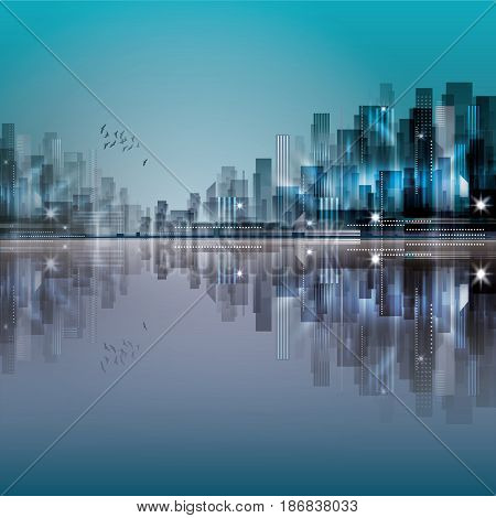 Modern Night City Skyline With Reflection On Water Surface