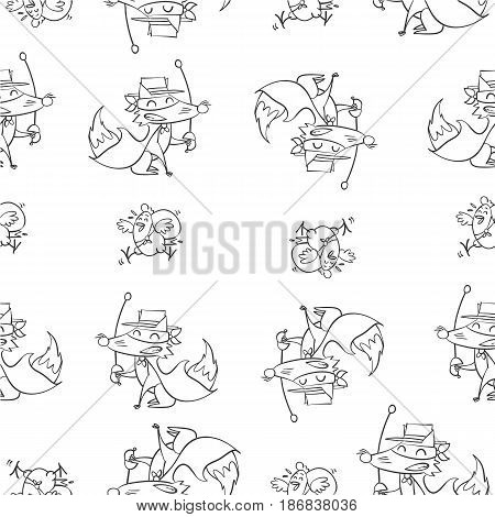 Fox and chick hand draw pattern collection stock
