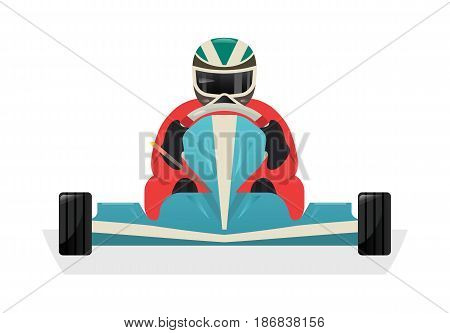 Go kart racer icon isolated vector illustration. Extreme auto sport competition, road trophy race championship, driver racing on go kart.