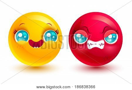 Vector set two smiles. Funny and angry emoji in kawaii style.