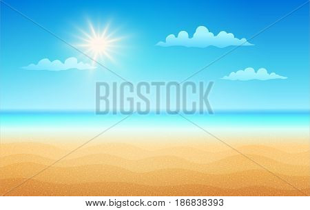 Vector illustration of a empty tropical beach in summer day. Tropical beach in sunny day.