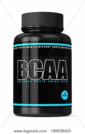 3D Render Of Bcaa Bottle With Pills Over White