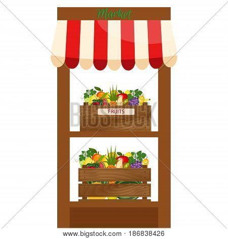 Local fruits stall. Fresh organic food products shop. Local market farmer selling fruits produce on his stall with awning. promote healthy eating concept. Food market.