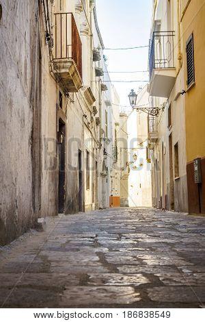 Charming street of Gallipoli, Puglia , Italy