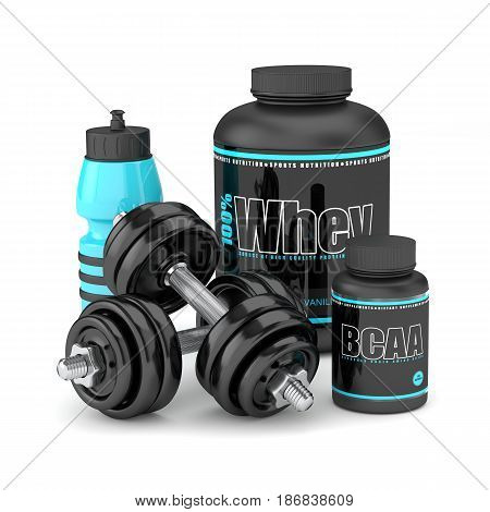 3D Render Of Dumbbells With Bcaa And Whey Bottles