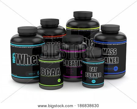 3D Render Of Bcaa, Whey, Fat Burner, Creatine And Mass Gainer