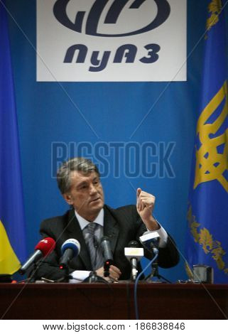 CUMAN UKRAINE - 02 December 2008: Press conference of the President of Ukraine Viktor Yushchenko