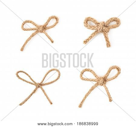 Bow knot made of linen rope string isolated over the white background, set of four different foreshortenings