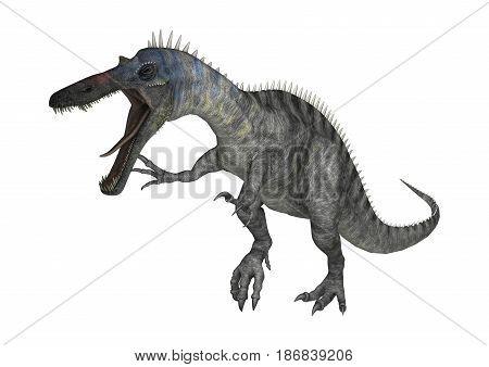 3D Rendering Dinosaur Suchomimus On White