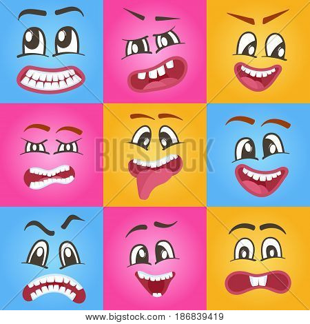 Emoji characters set with different expressions. Happiness, anger, joy, fury, sad, playful, fear, surprise smiley, eyes and mouth, funny comic faces. Cartoon cute emoticon isolated vector illustration