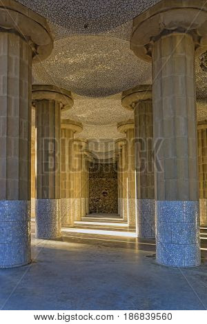 columns in Park Guell in Barcelona in spring