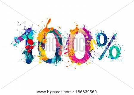 100 (one hundred) percent. Splash paint watercolor vector symbol