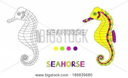Coloring page for the children with seahorse and hand draw letters. Vector illustration