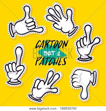 Cartoon patches with human hands. Hands in white gloves showing different signs vector illustration. Funny emoticon gesturing, making signals, expression construction, comic isolated icon set.