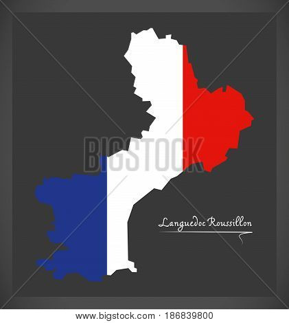 Languedoc Roussillon Map With French National Flag Illustration