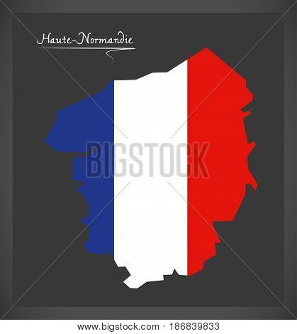 Haute-normandie Map With French National Flag Illustration