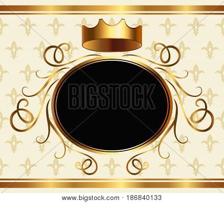 Elegant aristocratic greeting card template with golden crown and copy space for text. Medieval heraldic background, monarchy design element, royalty style event invitation vector illustration.