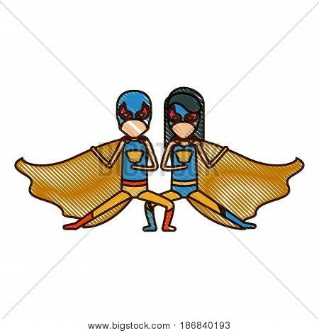 colored pencil silhouette with faceless duo of superheroes in defensive pose and her with straight long hair vector illustration