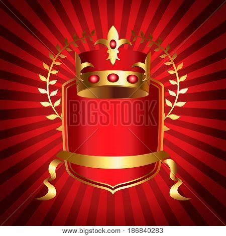 Royalty emblem with golden crown of kingdom, shield and ribbon. Medieval heraldic symbol, beautiful monarchy design element, royalty company logo. Elegant aristocratic branding vector illustration