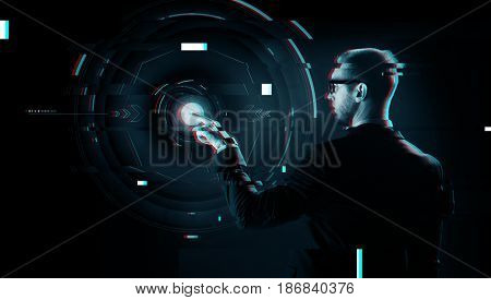 business, future technology, cyberspace and people - businessman in suit and glasses pointing finger to virtual projection over virtual glitch effect