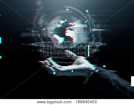 business, technology, cyberspace and people concept - close up of businessman hand with virtual earth projection over dark background
