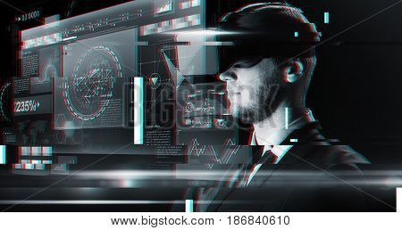 cyberspace, augmented reality, technology and people - man in virtual headset or 3d glasses looking at screens over glitch effect